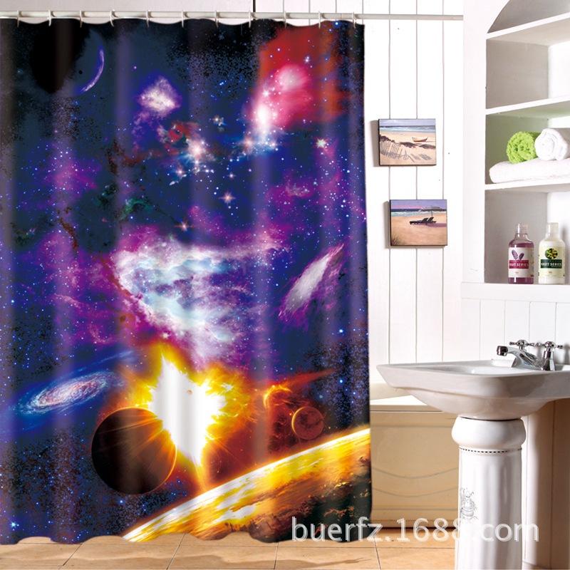 っMYRU Creative 48D Cosmic Star Partition Waterproof Personality Beauteous 5 Star Bathrooms Creative