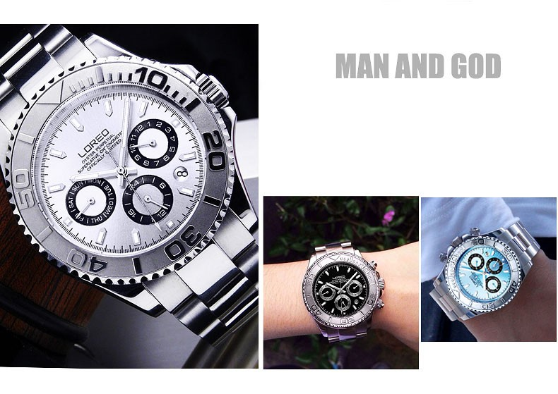 f485ab4a718fbc LOREO Sapphire Automatic Mechanical Watch Men silver Stainless steel ...