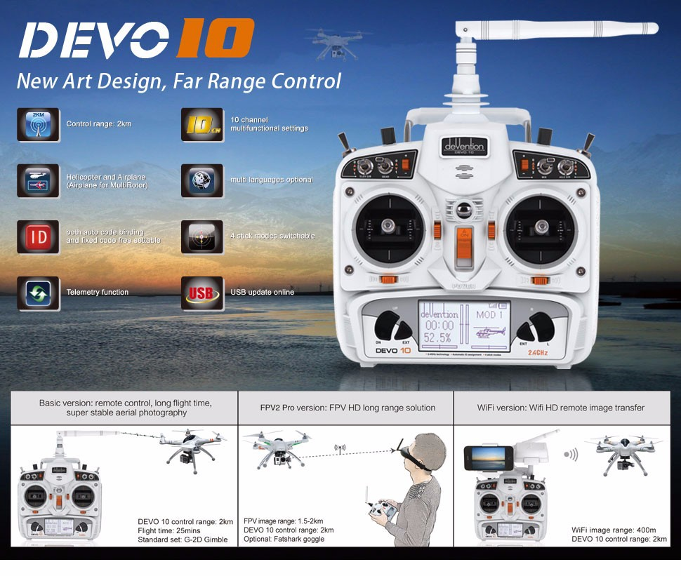 Walkera White Devention Devo 10 24ghz 10ch Rc Digital Transmitter 2km Long Range Fm Radio 8