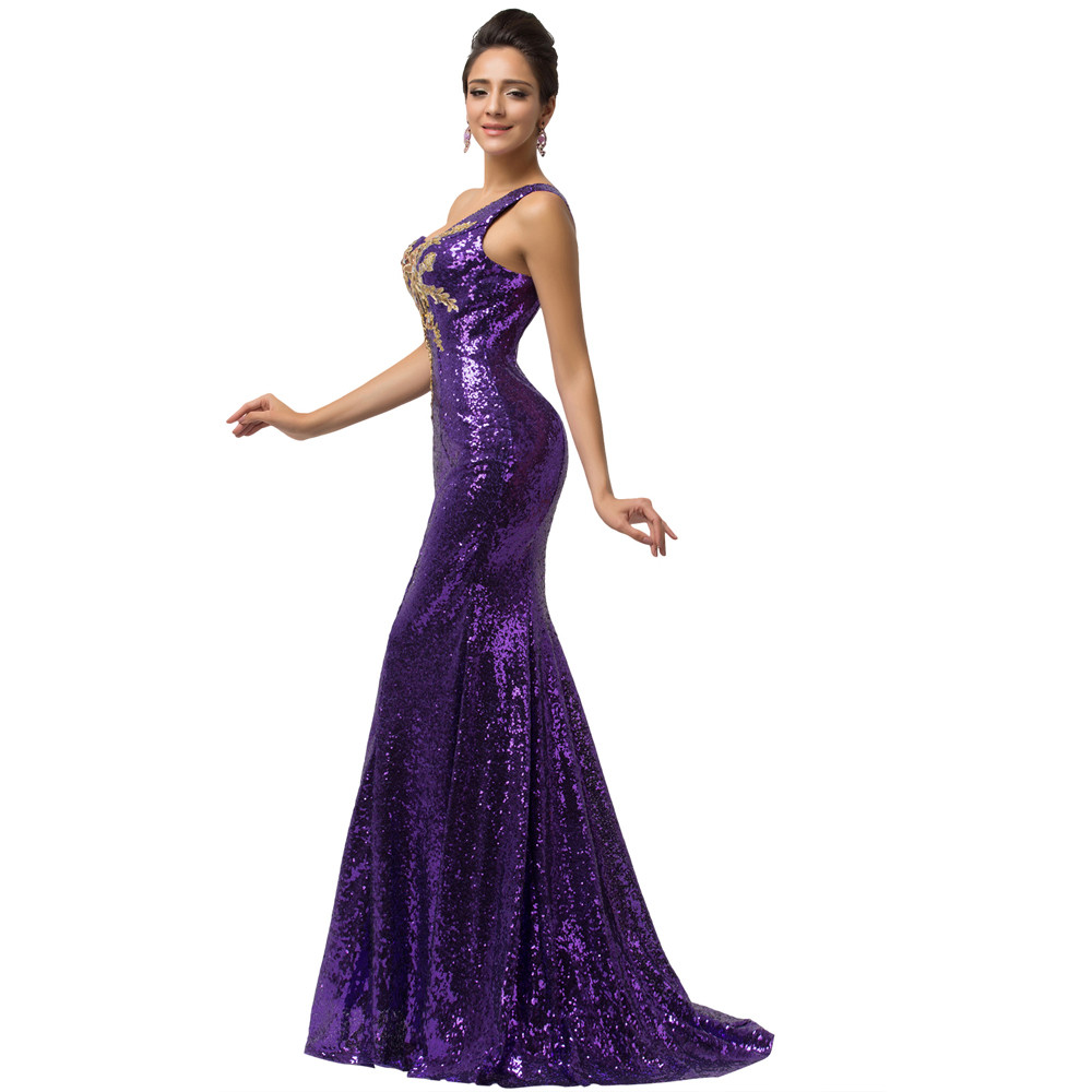 Grace Karin Sexy Purple teal Green Sequin Gown Mermaid Long Evening Dresses  2018 Trumpet One shoulder Evening Party Dress 7545 307032b15ea8