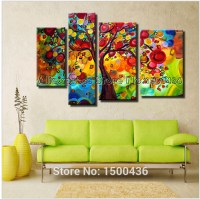 Buy Hand Painted Colorful Abstract Oil Paintings Tree ...