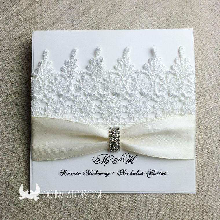 Elegant Wedding Invitations With Rhinestones And Lace Images