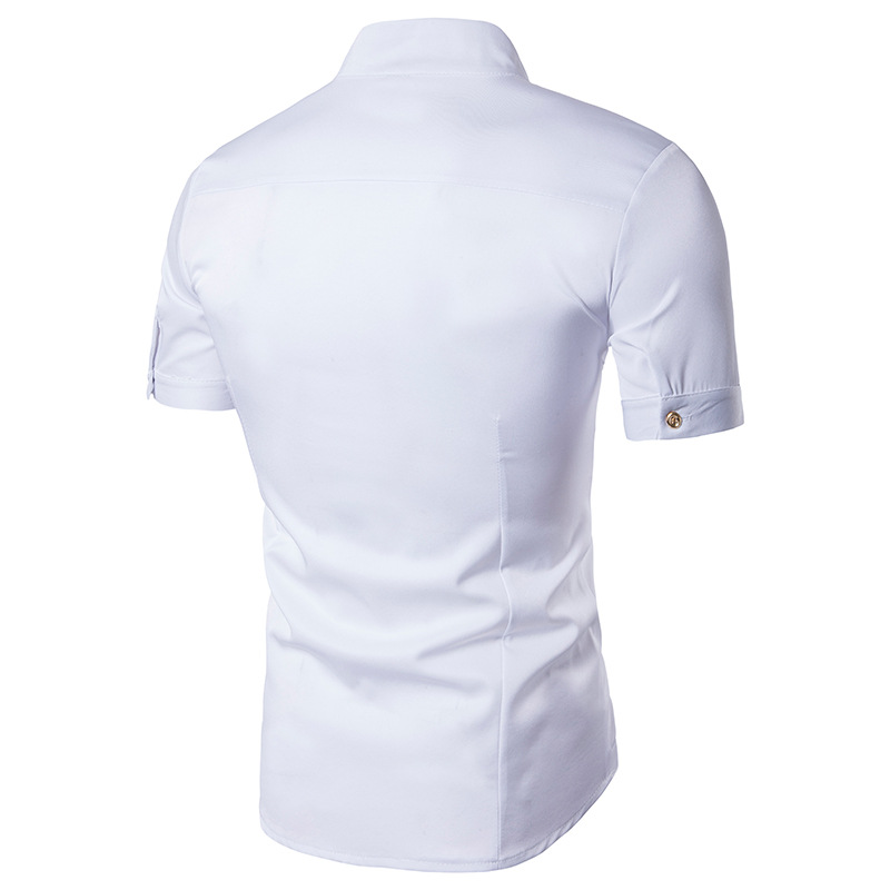 Moda hombres camisa verano hombres de manga corta sólido casual Camisa  stand collar Bordado hombre Camisas de traje camisa social masculina f00df5960041c