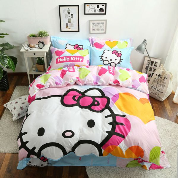 3d Kitty Bedding Set Pink Queen Twin Size 4pcs Bed Spread Linen Quilt Cover
