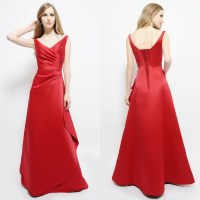 Line V Neck Long Red Satin Bridesmaid Dress Lace Up Prom ...