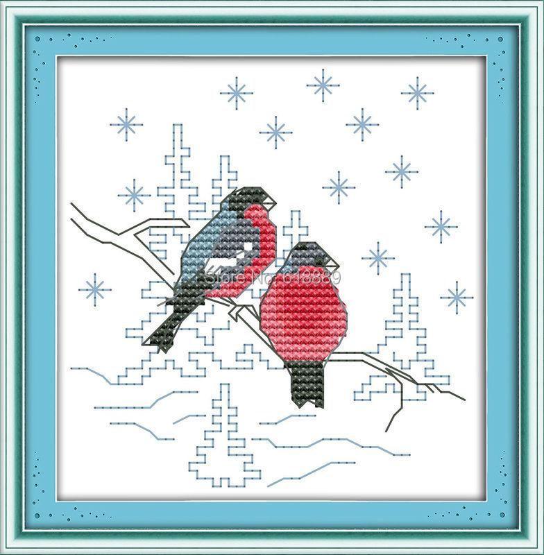 ᗐDos rojos Aves patrón contado cross stitch 11ct 14ct cross stitch ...