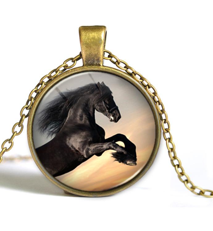 ③Мода лошадь Ретро Цепочки и ожерелья Jewelry Стекло ...