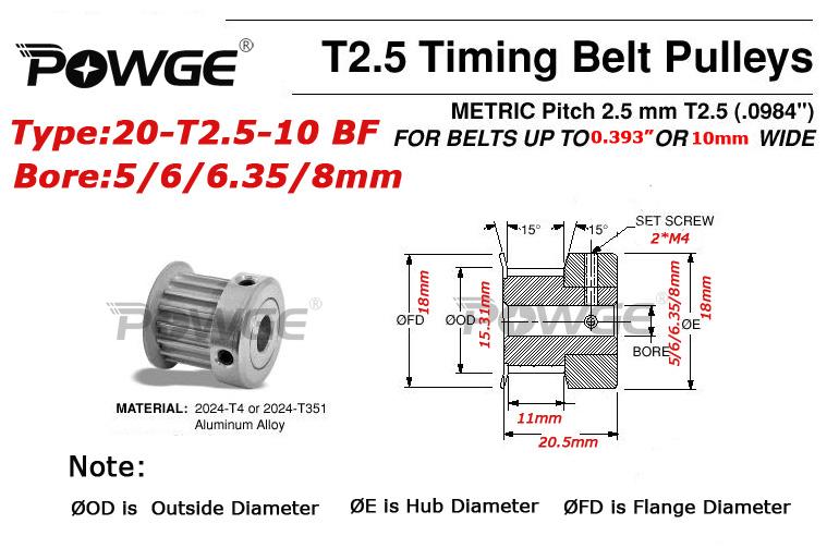 Φ_ΦPowge 5 шт. 20 зубов T2.5 Сроки ролик диаметр 5 мм 6 мм ...