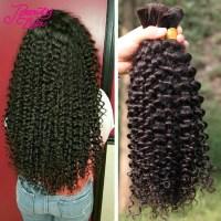 7A Brazilian Virgin Hair Curly Human Braiding Hair Bulk No ...