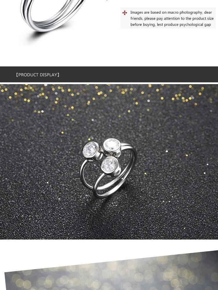 9a2cddf87c50 ④S925 joyería de plata sólida Anillos 3 princesa cut Piedras ...