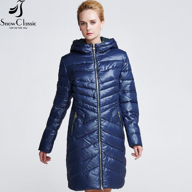 Snowclassic Новая Коллекция Зима пуховик зимний женский Парка с капюшоном Длинного фасона куртка из полиэстра Стильное модное пальто для девушек 14198