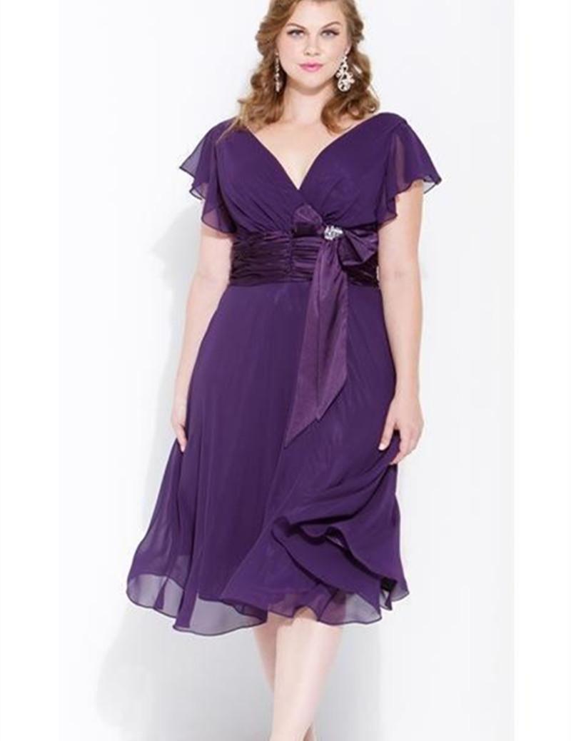 Purple Mother Of The Bride Dresses Tea Length