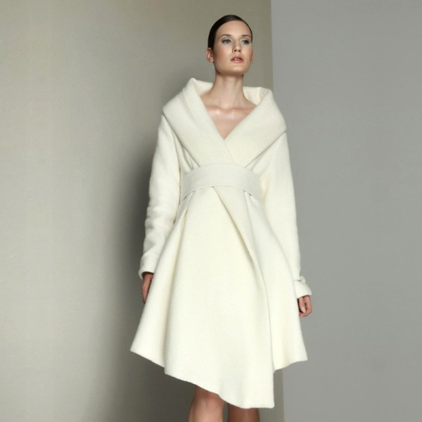 High End Big Pure White Cashmere Coat 14 Women' Fall