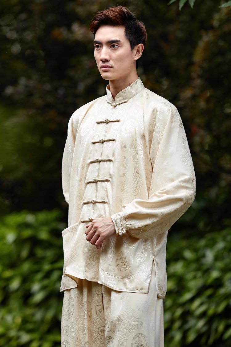 Shanghai historia Faux seda Kungfu chino tai chi traje camisa de ...