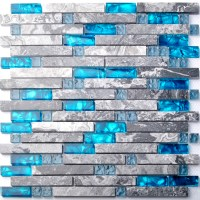Sea blue glass mosaic tile kitchen backsplash grey marble ...