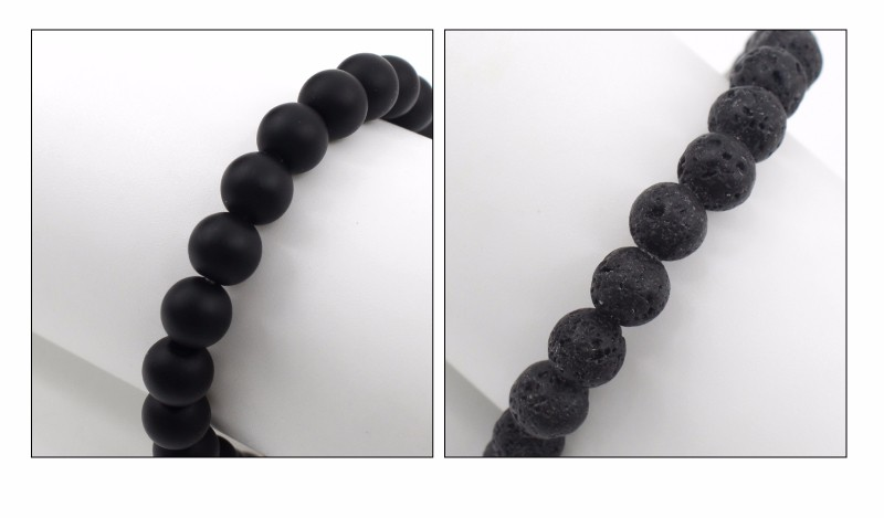 ᗐBlack Lava Stone Unisex Beaded Bracelets Leopard Head Buddha Beads ...