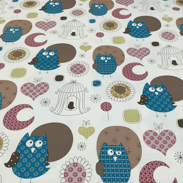 ✅50x150 cm algodón azul búho flores tela DIY hecho a mano costura ...