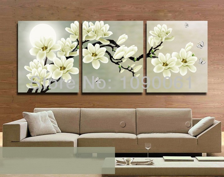 Hand Painted Flower Painting Canvas 3 Piece Wall Decor