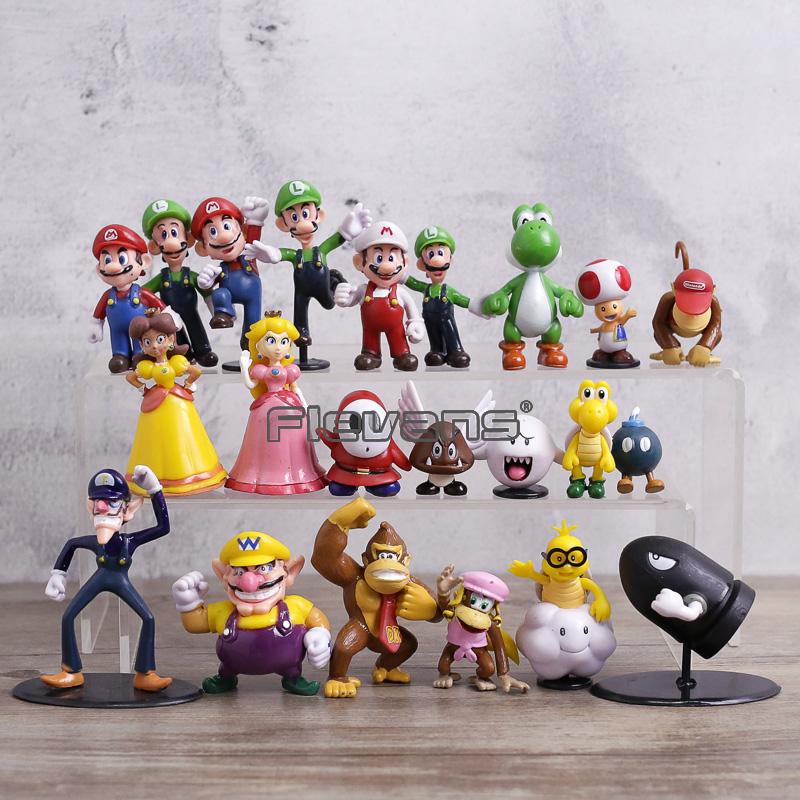 Super Mario Bros цифры 22 шт./компл. Марио Луиджи гриб Боузер Йоши персик Дейзи Goomba Купа мини-фигурки из ПВХ игрушечные лошадки куклы