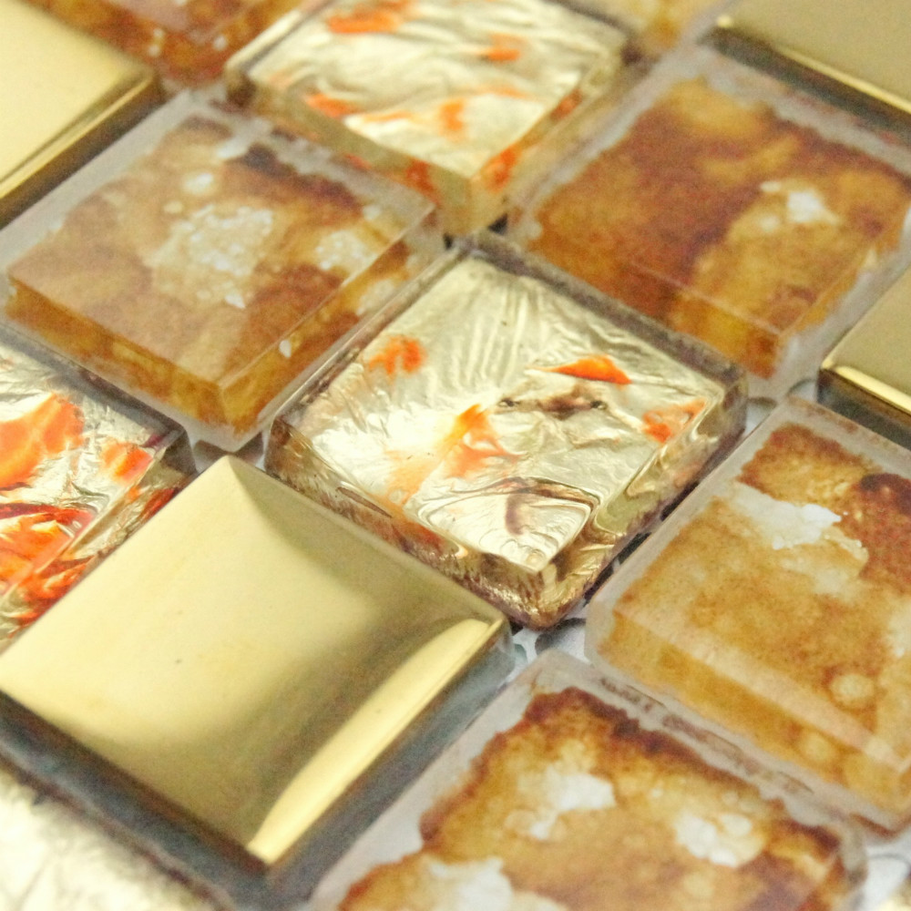 Gold foil painting electroplating glass mosaic tile on