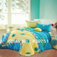 Yellow Blue Pink Lace bedding set 100% cotton comforter ...