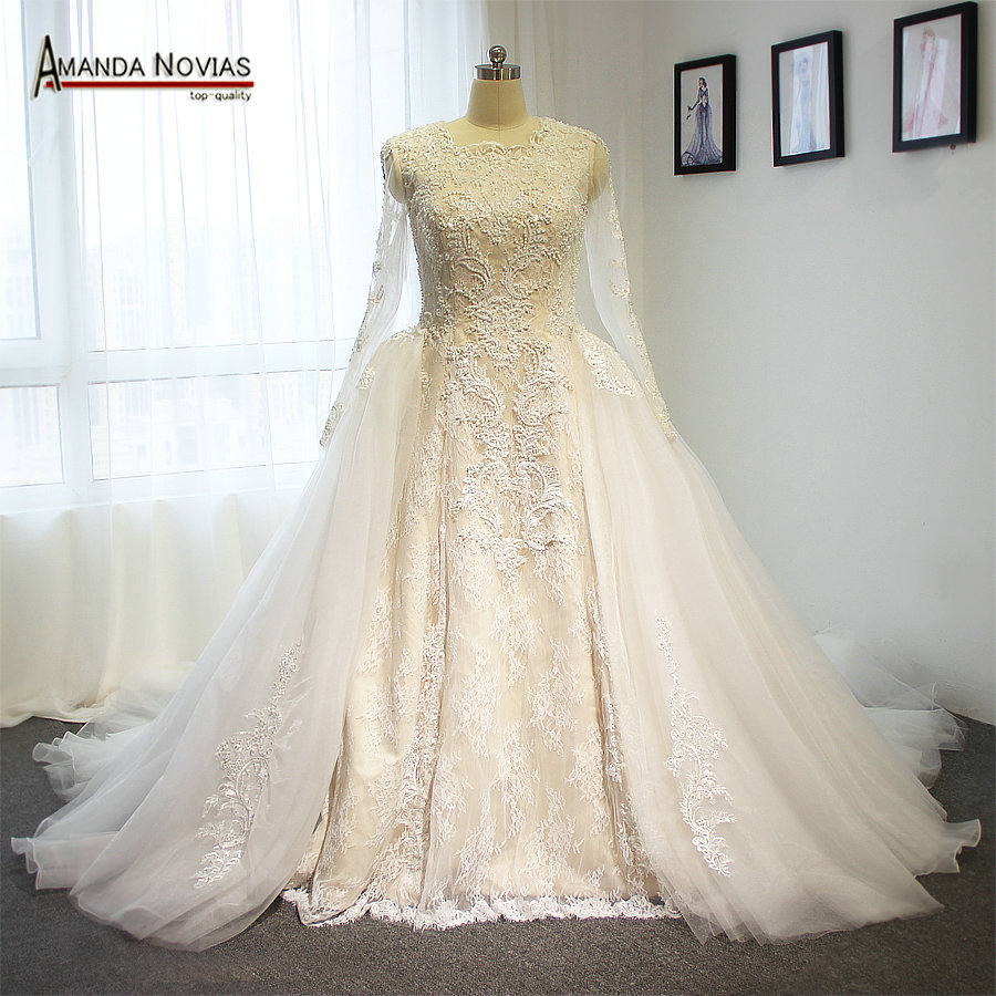 Ivory high end wedding dress two in one wedding dress with