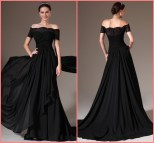 Black Off Shoulder Evening Dress