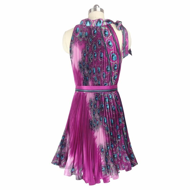 ᗑ】Nuevo 2017 50 s vestido damas Halter impresión del pavo real de ...