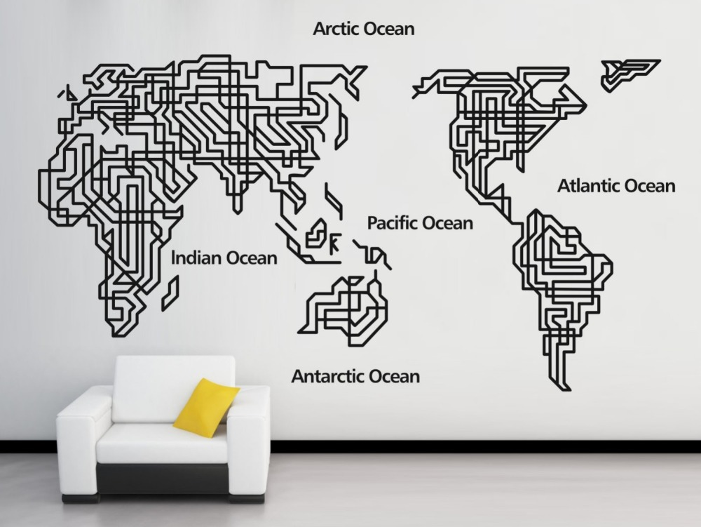 Free Shipping Extra Large World Map Wall Stickers Quotes