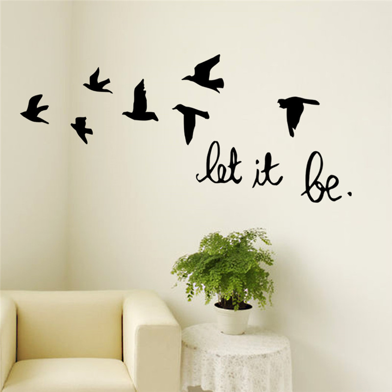 new arrival black flying birds wall sticker for kids rooms decals