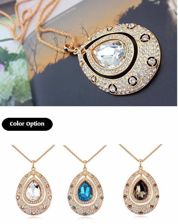 734995e39261 ⑤Largo collar vintage teardrop colgante mujeres moda joyería cadena ...