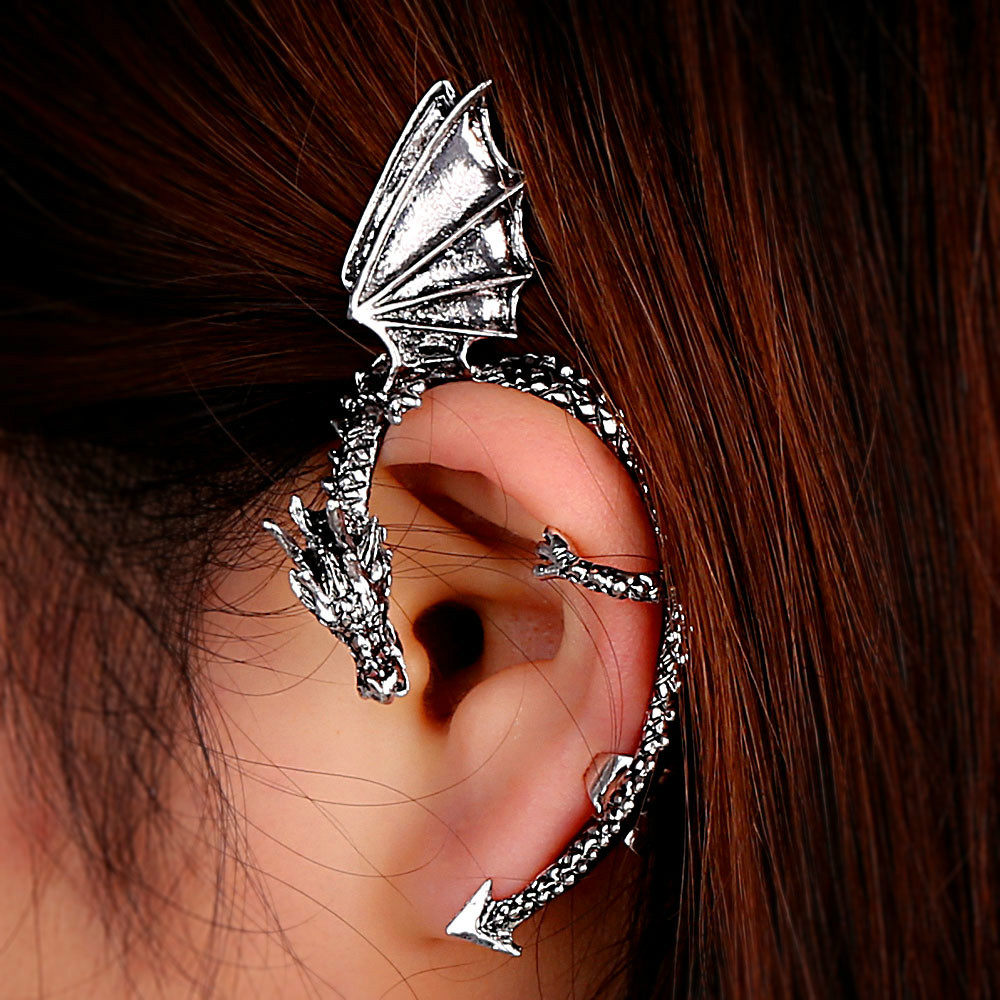 Retro Vintage Gothic Rock Punk Twine Dragon Shape Ear Cuff
