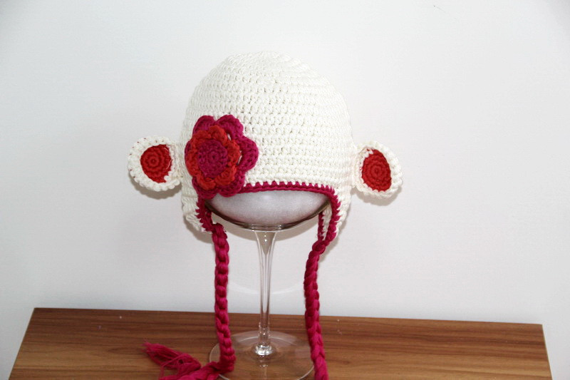 ④Envío libre, sombrero animal del bebé, las muchachas del mono del ...