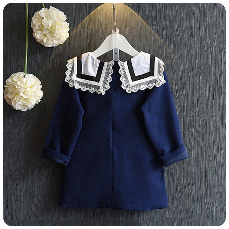 6a13e717fb 2016 chica otoño ropa nueva ropa de los niños coreanos otoño nuevo patrón  encantador Encaje solapa una palabra vestido chaqueta