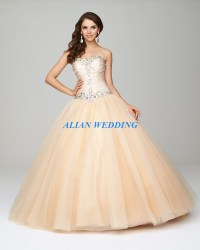 Hot Sale Champagne Quinceanera Dresses Ball Gown Beading
