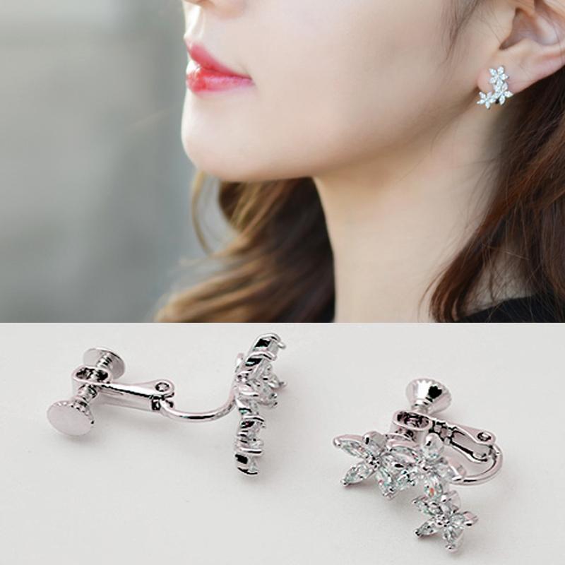 Fashion Jewelry flower earrings Cute Zircon Leaf Clip