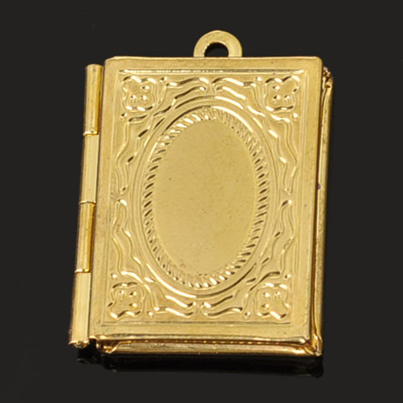 10pcs 19*23mm 18k Gold Plated Vintage Book Photo Lockets