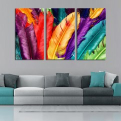 Paintings For Living Room Modern Track Lighting 3 Piece Fresh Look Color Feather Home Wall Decor Painting Abstract Oil Printed Picture Cuadros By Numbers Diamond Canvas