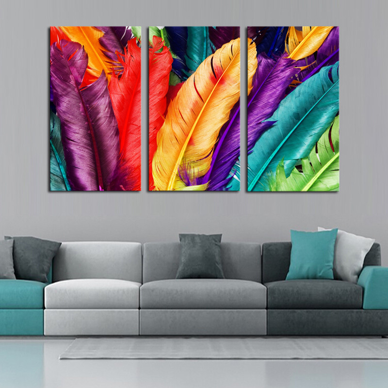 paintings for living room decorating ideas with light wood floors 3 piece fresh look color feather modern home wall decor painting abstract oil printed picture cuadros by numbers diamond canvas