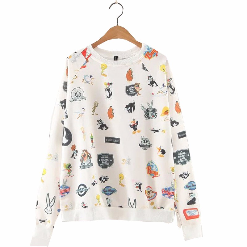 863b38725 ᐃAutumn Spring Women Kawaii Cartoon Pattern Printed Casual O-Neck ...
