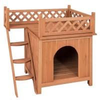 Dog House Wood Room Puppy Pet Indoor Outdoor Raised Roof ...