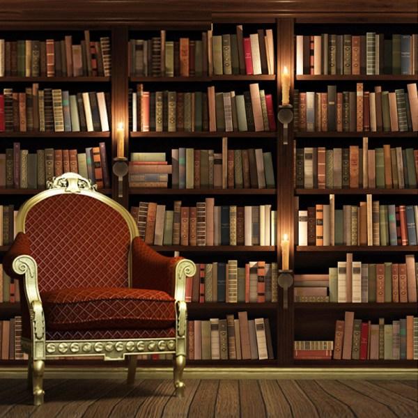 Vintage Bookshelves Wall Mural