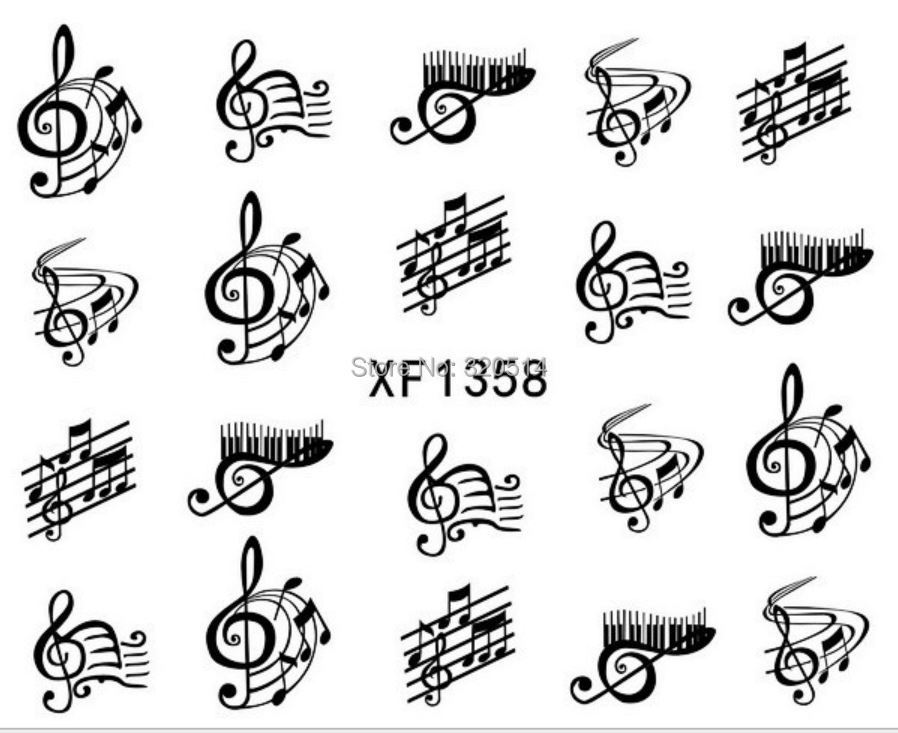 New Nail Designs Black Color Music Note Water Transfer