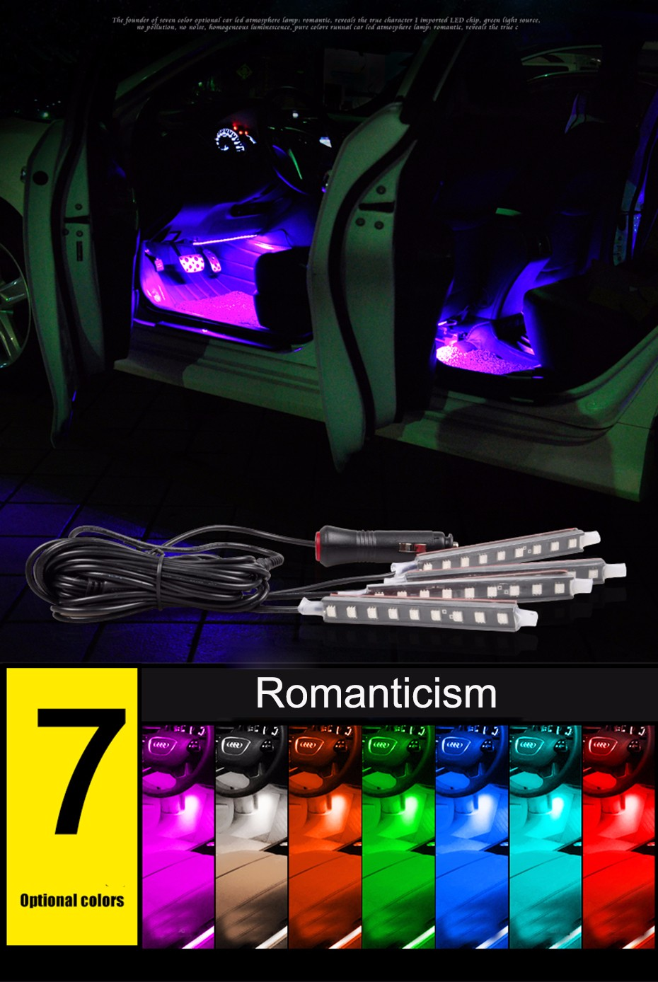 3leadtops 4x 3led Car Charge 12v Glow Interior Decorative 4in1