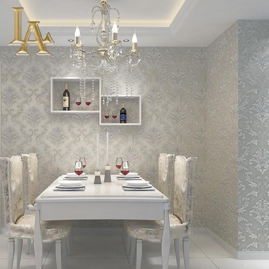 European Simple Luxury Beige Grey 3D Damask Wallpaper