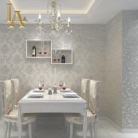 European Simple Luxury Beige Grey 3D Damask Wallpaper ...