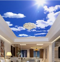 Custom ceiling wallpaper, blue sky and white clouds for ...