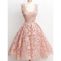 Vintage Blush Pink Short Homecoming Dresses 2016 Lace Ball ...