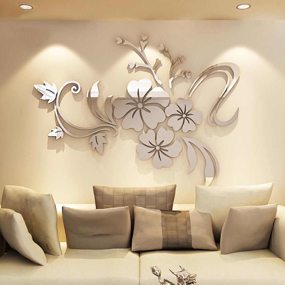 living room set diy art studio oshawa romantic flower acrylic mirror wall sticker for ...
