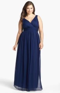 Hot Plus Size Navy Blue Bridesmaids Dresses 2015 With V ...